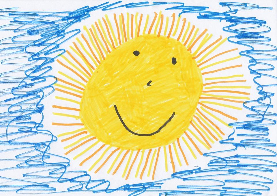 Kinderzeichnung Sonne und Himmel
