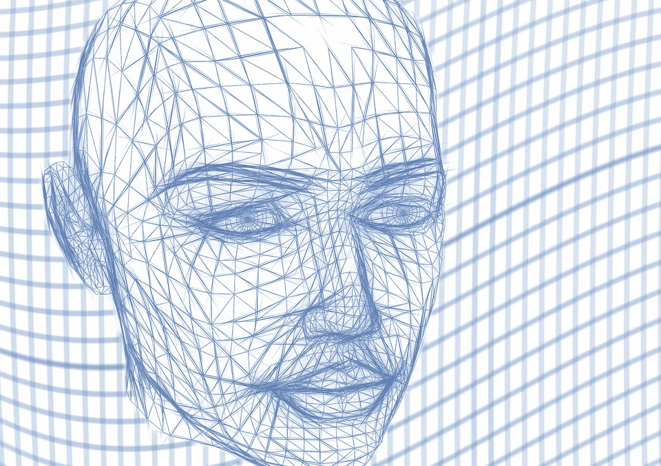 3D Modell eines Kopfes gezeichnet