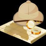 Safari-Hut mit Karte und Kompass