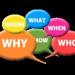 bunte Sprechblasen mit Fragen