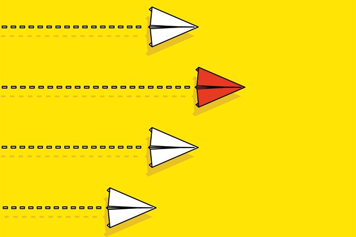 Führung Papierflugzeug